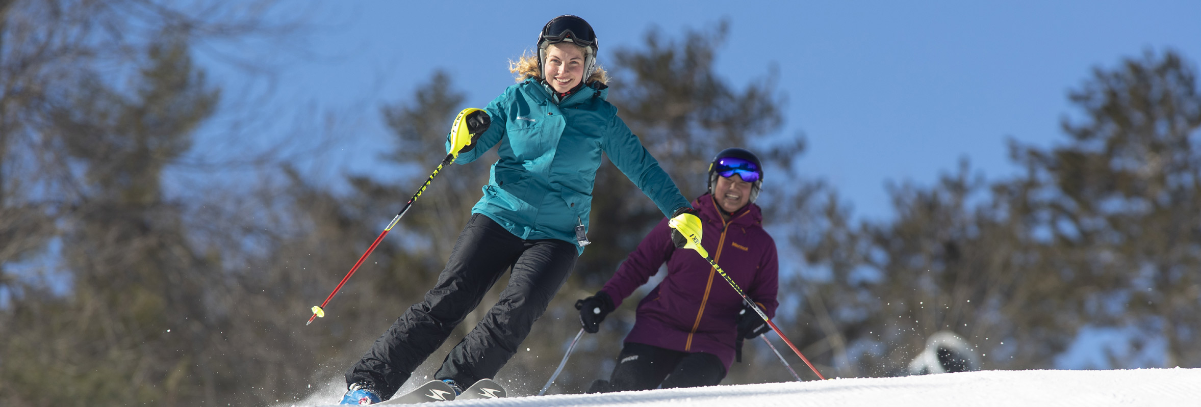 Photo of two skiers